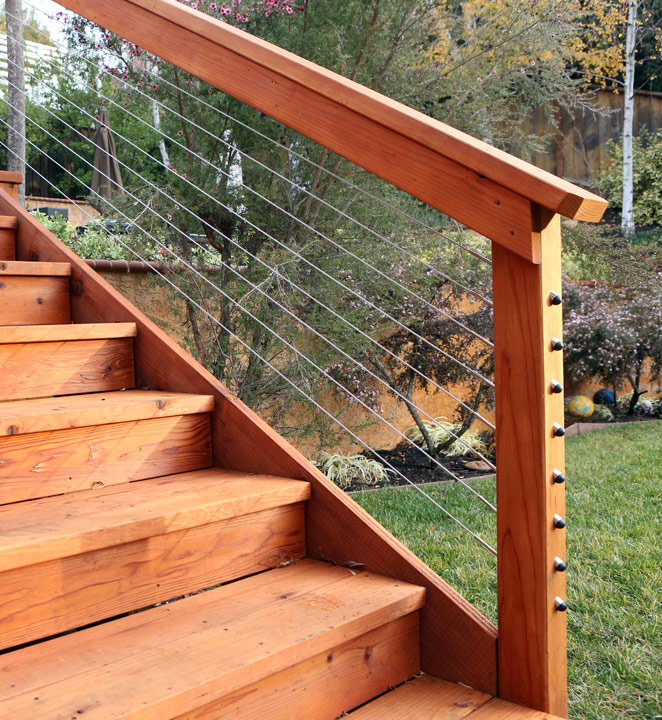 Redwood handrail with cables