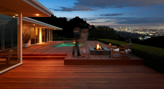 Redwood deck next to pool