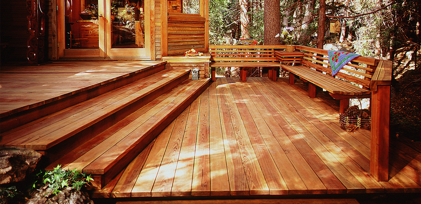 Redwood Built-In Bench and Deck