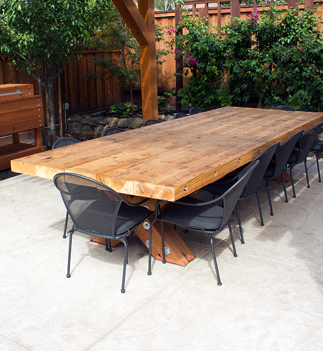 Redwood Timber Picnic Table