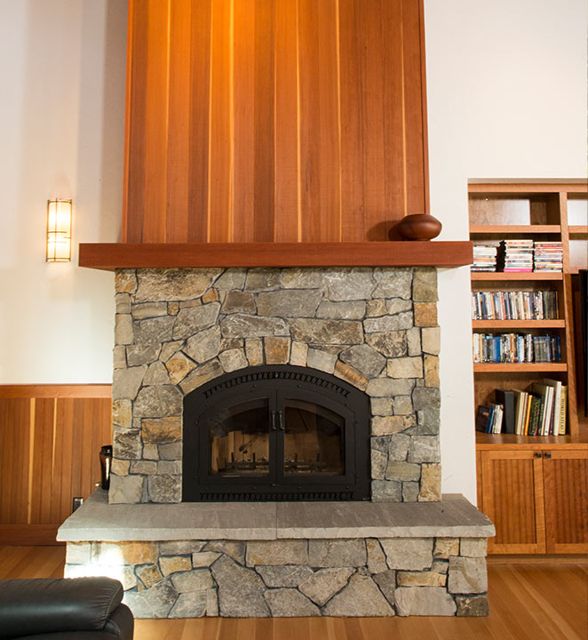 Redwood Fireplace Paneling