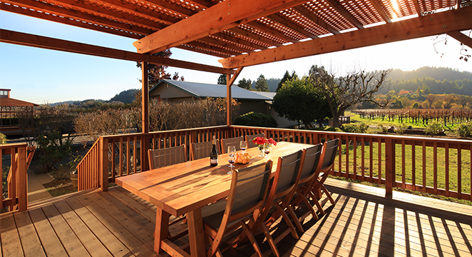 ZO Wines Redwood Deck and Shade Structure