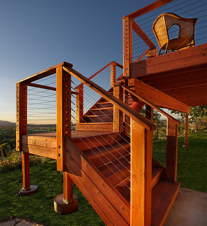 Raised Redwood Deck with Steel Cable Railings