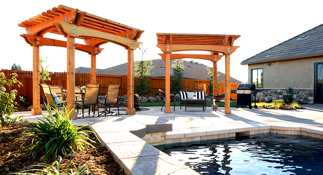 Backyard Pool & Redwood Shade Structures in Redding, CA