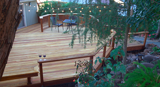 Multi-Level Redwood Deck in Martinez, CA