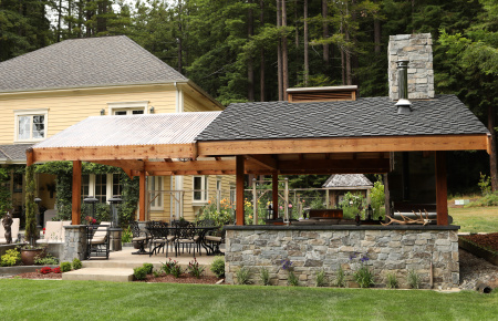 Outdoor Kitchen with Redwood Pergola