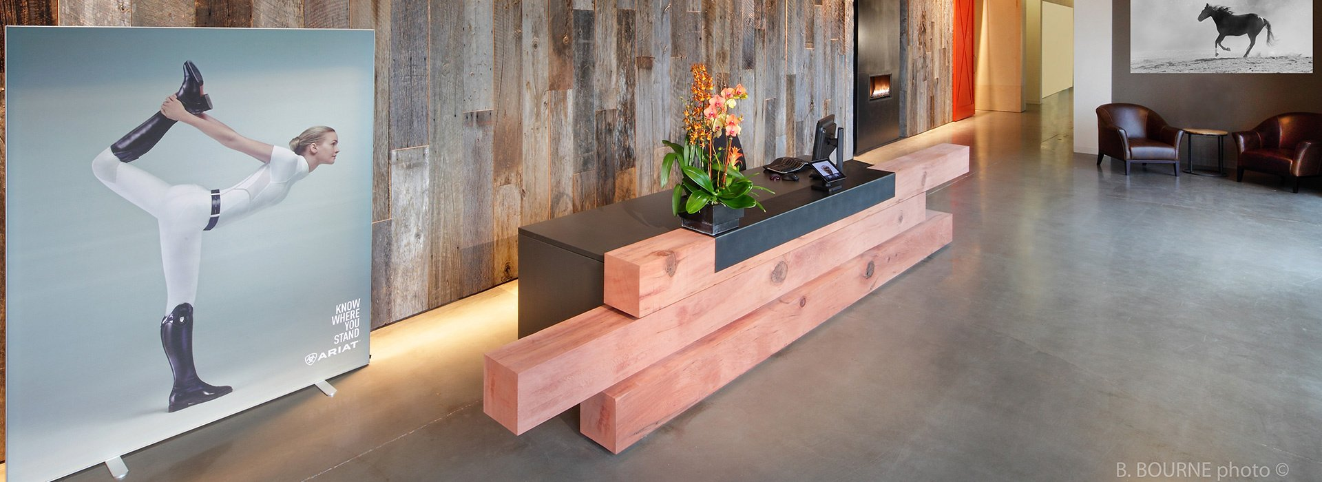 Ariat HQ Reception Desk Made of Redwood Timbers